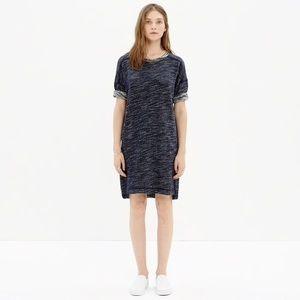 Madewell navy blue textured sweatshirt dress